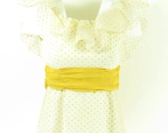 Vintage 70s Polka Dot Long Dress Womens Lorrie Deb White Yellow Deadstock Bow [H51S_0-14_Long]