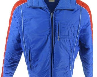 Vintage 80s Roffe Ski Jacket Mens L Puffy Retro Snowboard Blue Time Machine [H73M_1-9]