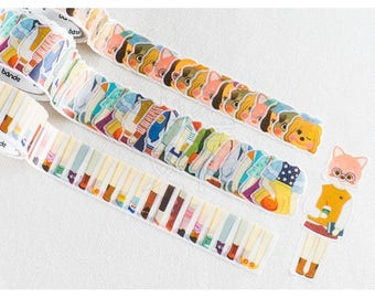 Animal Washi Tape Stickers - Die Cut Cats and Friends Party