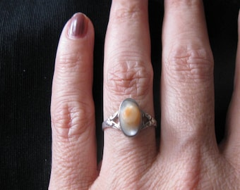 Pearl Blister ring silver, antique jewelry, size 7