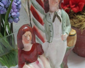 Lovely Staffordshire figurine loads of fabulous color English figurine Staffordshire