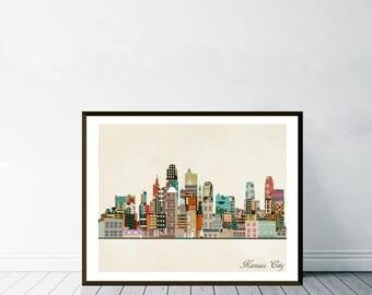 kansas city missouri.kansas city skyline.kansas city cityscape. colorful pop art skylines for home decor.Giclee art print. color your world