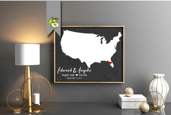 1st anniversary custom map printable map wedding location map usa