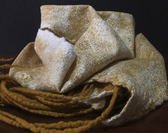 Made in Italy nuno felt scarf mulberry silk and merino wool wedding stole
