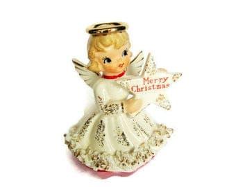 Vintage Holt Howard Star ANGEL Merry Christmas Candle Holder Porcelain Figurine Ornament Decoration Japan HTF Spaghetti trim Figure