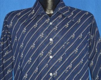 70s Big Collar Blue Button Down Disco Shirt Medium