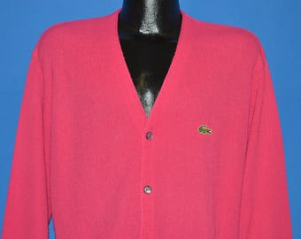 80s Pink Izod Lacoste Cardigan Sweater Large
