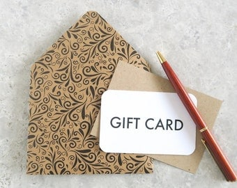 Gift Card Envelopes, Kraft Mini Envelopes and Note Cards
