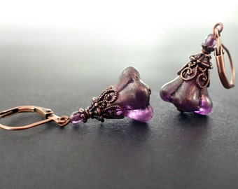 Purple Fairy Tale Earrings - Romantic Antique Style Flower Earrings - Whimsical Jewelry - Copper Fairytale Glass Flower Lever Back Earrings