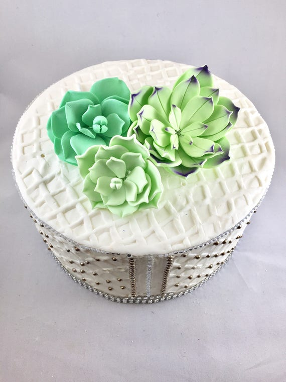 wedding cake fondant flower toppers succulents sugar flowers ready to ship gumpaste flowers 22689
