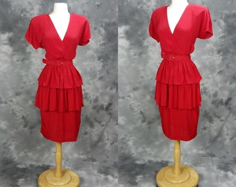 1980s red belted dress, ruffled, short sleeve, V neck, rayon, Pheobe, medium