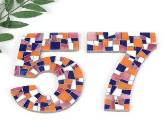 Address Numbers in Mosaic Tile in Orange, Coral, Navy and White Stained Glass Tiles, Mosaic House Numbers