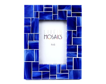 Blue Picture Frame in Stained Glass Tiles – 5x7 Frame or 4x6 Frame