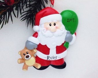 FREE SHIPPING Santa Personalized Christmas Ornament / Santa with Toy Bag and Teddy Bear / Toddler Ornament / Child Ornament