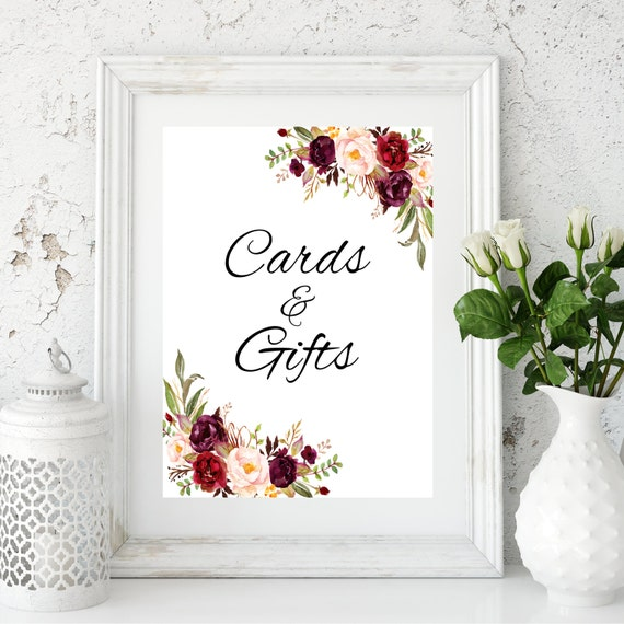 Marsala cards and gifts sign gift table sign cards and gifts for Table 6 gift card