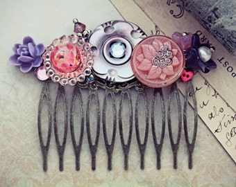 Pink Hair Comb Purple Flower Victorian Glass Mother of Pearl Jewelry Vintage Wedding Bridal Hair Piece Resin Daisy Collage Hair Accessories