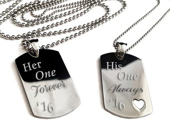 Couples Medium Dog Tag + Her one Forever + His and Hers Dog Tag Set + Couples Jewelry Set + Medium His and Her Set