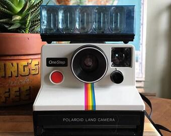 Vintage 1970s Polaroid OneStep Rainbow Stripe Camera with Flash Attachment and Original Paperwork