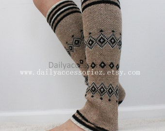 brown womens leg warmers, aztec knit leg warmers, leg warmers adult, boot socks, for girls, for women, Christmas Gifts, for her, for mom