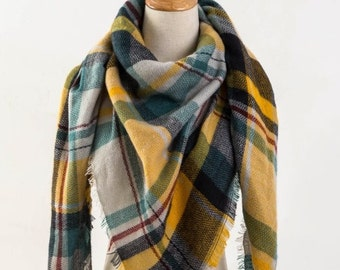 Spring sale Green and Yellow Plaid Blanket Scarf, Winter Scarf, Womens Plaid Scarf, Blanket Plaid Scarf, Oversized Scarf, Gift For Her