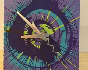 Purple Spin Art Clock