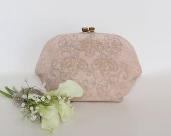 Stunning Saks Fifth Avenue Vintage Soft Pink Evening Clutch Made In Belgium