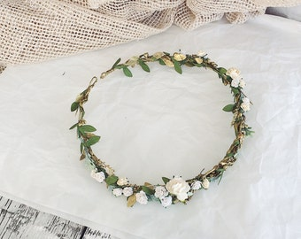 Bridal rustic crown, Bridal leaf crown, Bridal headband, flowergirl crown, bridal floral crown, woodland halo, bridal wreath, flower crown