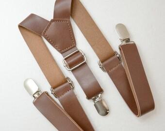 SHIP FAST Rustic Vintage Style Dark Brown 1 inch Wide Pu Faux Leather Suspenders Kids Boys Mens 8 months - ADULT Page Boy Groom Suspenders