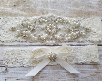 SALE - Wedding Garter, Bridal Garter, Garter Set - Crystal Rhinestone & Pearls - Style G8001IVO