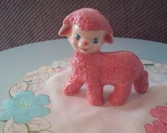 pink ceramic lamb vintage