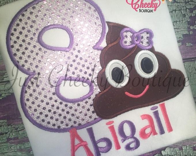 Poop Emoji Embroidered Shirt - Poop Emoji Girl with Bow - Emoji Birthday - Poop Emoji Birthday - Emoji Movie