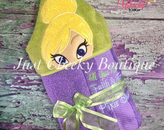 Fairy Princess Inspired Hooded Towel -TinkerBell - Tink  - Disney Birthday - Disney Princess