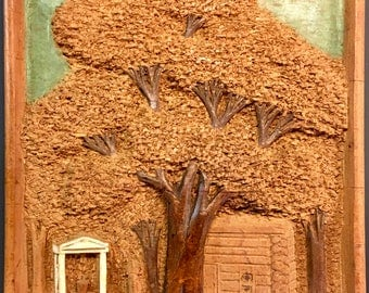 Vintage Collectible Rupert Kreider Bas Relief Wood Carving 20th Century American Folk Art Carved Wood Panel