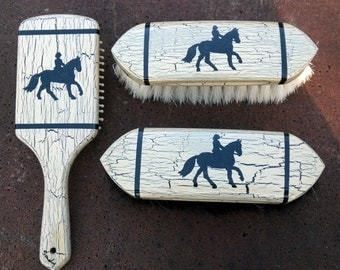 Hand Painted Wood Handle Horse Grooming Brushes - Cantering Horse