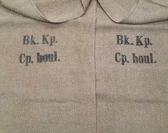 Two (2) Vintage European Grain Sacks from 1943 in Excellent Condition (X4284)