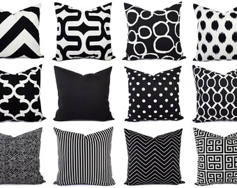 Black And White Pillow Cover Modern Black Throw Pillow Cover