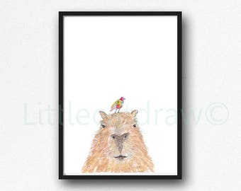 Capybara with a Rainbow Bird Print Animal Watercolor Painting Rodent Wall Art Animal Art Print Bedroom Wall Decor Capybara Gift