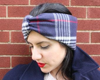 Shearling Lined Flannel Headband and Ear Warmer