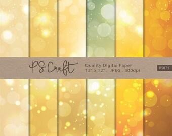 Gold Bokeh Digital Papers, Bokeh Pattern, Gold Bokeh Papers, Bokeh Background Scrapbooking