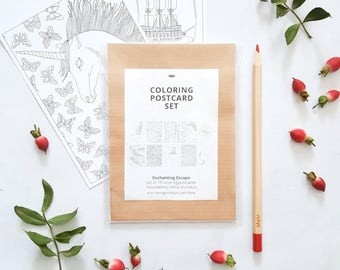 magical coloring postcards set of 10 - coloring stationery set - fantasy postcards to color in - fantastic coloring pages for adults