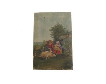 "Antique 9"" x 13.5"" Shepherd Boy and Girl and Sheep Oil Painting Art On Canvas"