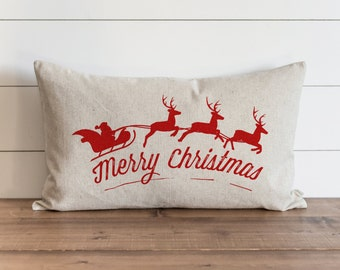 Merry Christmas Santa & Sleigh_Color 16 x 26 Pillow Cover // Christmas  // Holiday  // Throw Pillow // Gift for Her // Accent Pillow