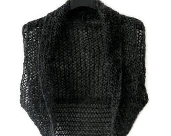 Women Bolero knitted gray Sleeveless Knit mesh short  Shrug