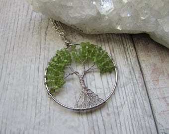 Peridot Gemstone Tree Of Life Pendant Necklace- Silver Plated Green