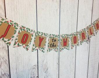 Joy to the World Banner, Christmas Banner, Holiday decor
