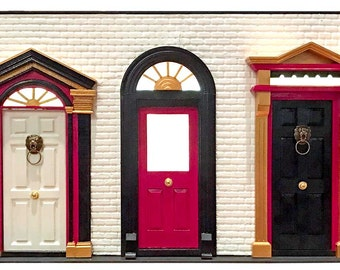 Posh Kensington Mews Doors - 1:12 scale miniature architectural façade
