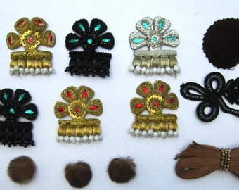 Lot 14 Vintage Gold Bullion Metal Metallic Thread Cord Crest Patch/fur buttons