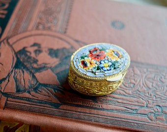 Vintage MicroMOSAIC PillBox, Ring Box, Italy Trinket Box, Gift for Her