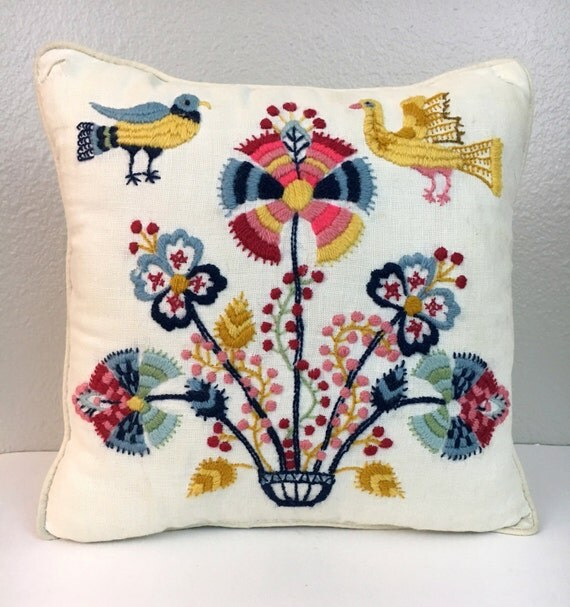 Colorful Embroidered Vintage Pillow, 1970's Throw Pillow, Birds and Flowers, Boho Pillow, Bohemian Linen Pillows