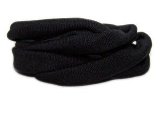 100% Silk Ribbon Elastic - Hand Dyed - Jersey - BLACK